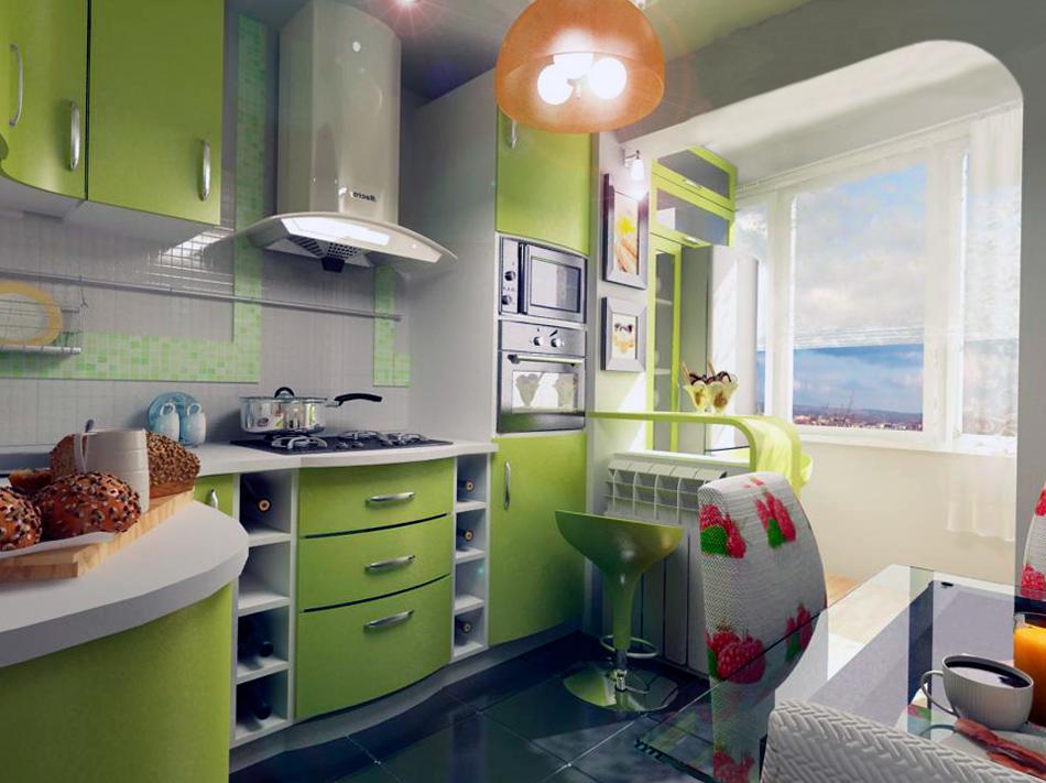 Дизайн маленького балкона с кухней